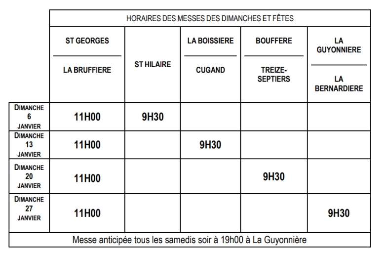 horaire janvier